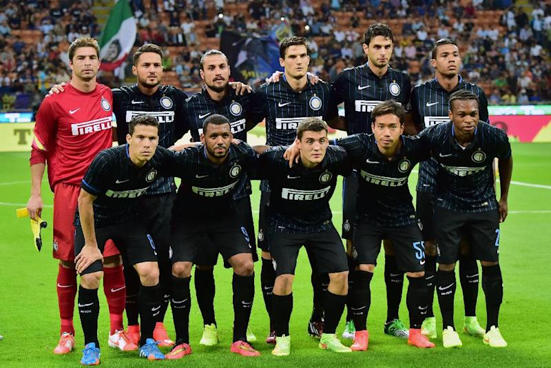 Inter Milan's team players pose before the UEFA Europa League play-off football match between Inter Milan vs Stjarnan at San Siro Stadium in Milan on August 28, 2014