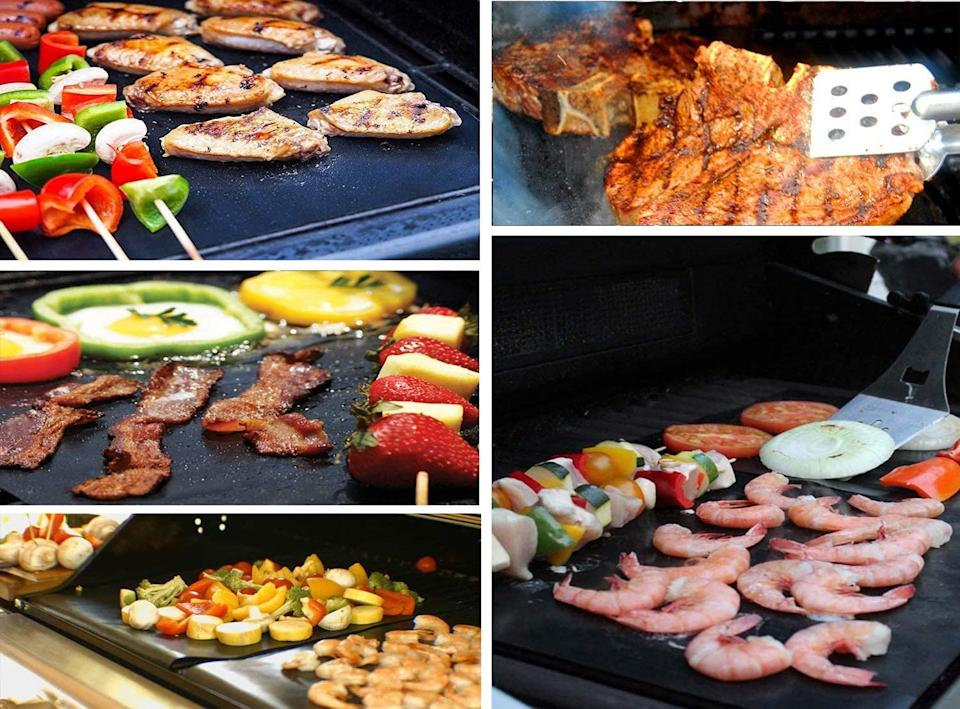The Renook Heavy Duty Grill Mat can be used to cook meats, seafood, veggies, and more. Image via Amazon.
