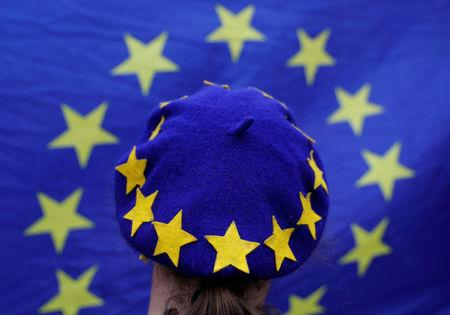 A protester wearing a Europen Union flag themed beret takes part in an anti-Brexit demonstration after Britain's Prime Minister Theresa May triggered the process by which the United Kingdom will leave the Euopean Union, in Birmingham