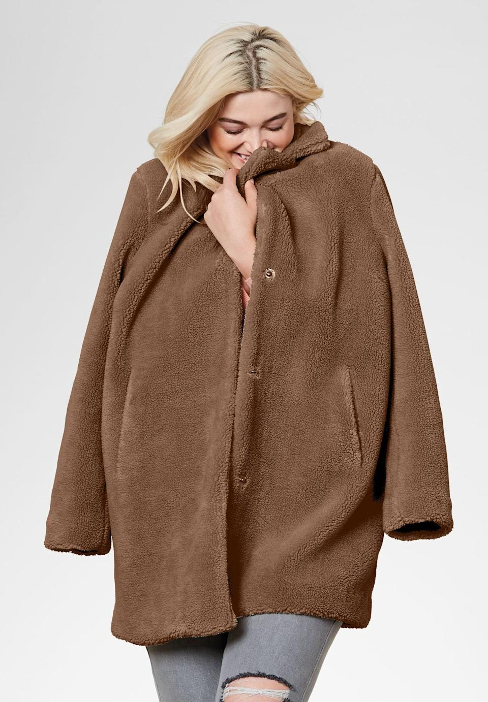 """Teddy coats are beloved because they'll make you look like the model in this photo: cozy, cute, and wildly pleased at looking so cozy and so cute. $60, Amazon. <a href=""""https://amzn.to/31q0hjJ"""" rel=""""nofollow noopener"""" target=""""_blank"""" data-ylk=""""slk:Get it now!"""" class=""""link rapid-noclick-resp"""">Get it now!</a>"""
