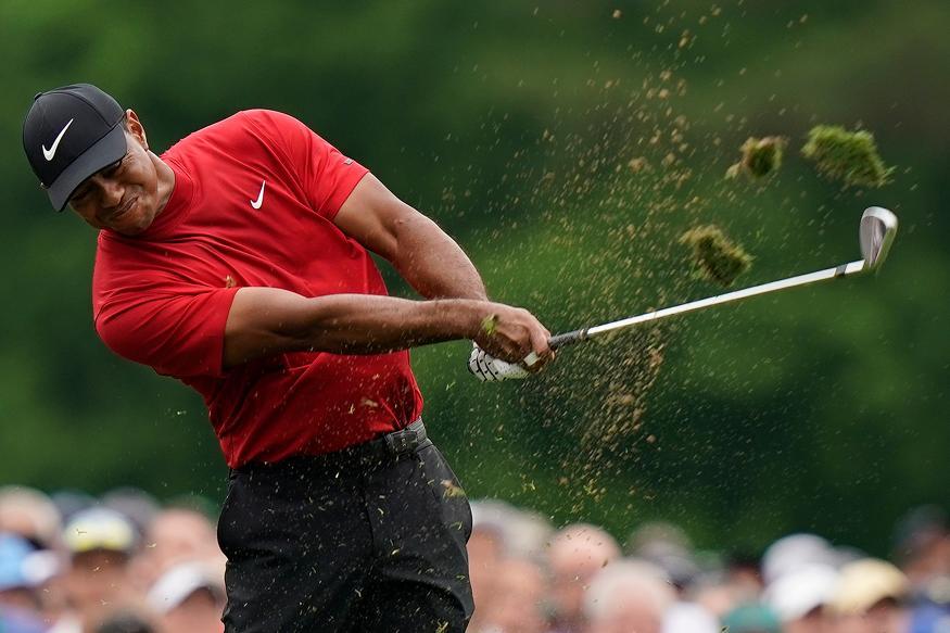 Tiger Woods hits on the 12th hole during the final round for the Masters golf tournament in Augusta, Georgia. (Image: AP)