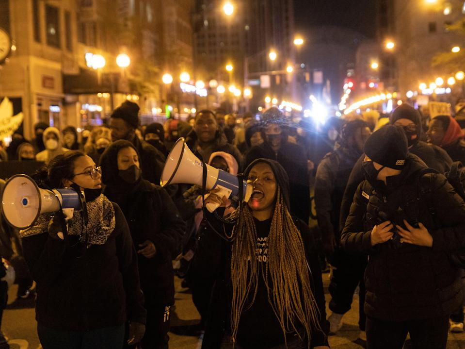 <p>Black Lives Matter activists led by Hana Abdur-Rahim, a local organizer, march through downtown in reaction to the shooting of Makiyah Bryant on 20 April 2021 in Columbus, Ohio.</p> ((Getty Images))