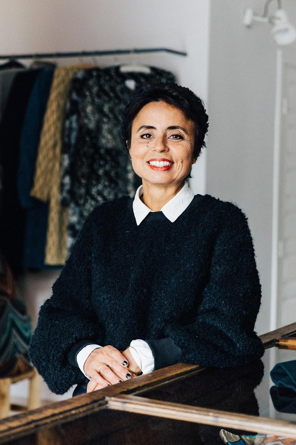 Meriem Nour, known for designs that nod to Moroccan tailoring history, inside her Hanout Boutique