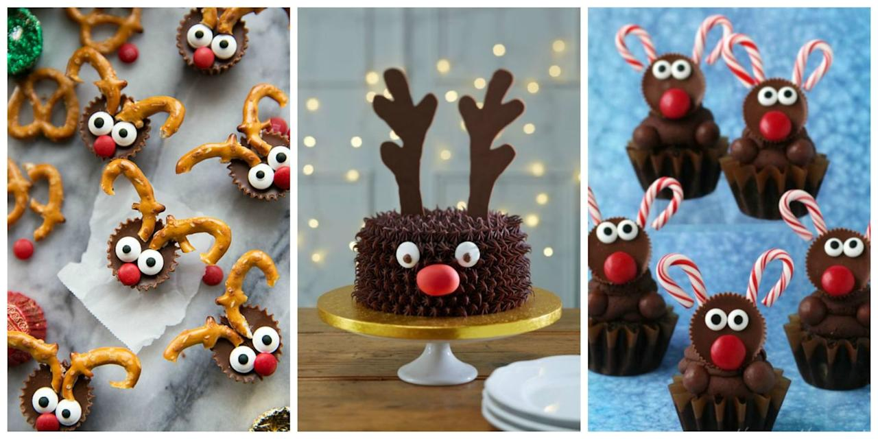 <p>Even Rudolph would approve of these sweet reindeer cupcakes, cookies, and cakes. </p>