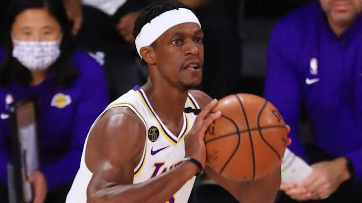 Rajon Rondo, then a Los Angeles Lakers player, shoots the ball in October's Game Six of the Lakers' 2020 NBA Finals game against the Miami Heat in Florida. (Photo by Mike Ehrmann/Getty Images)