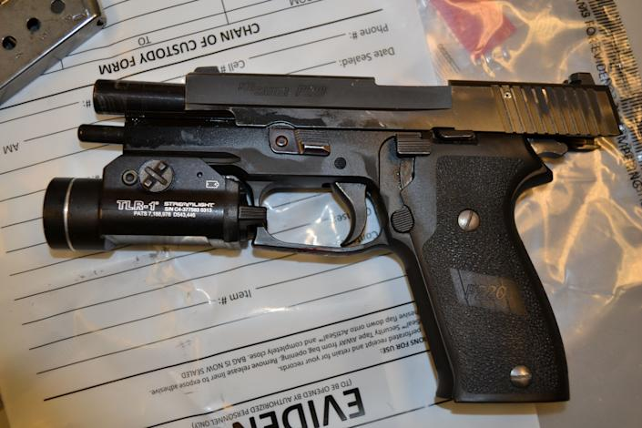 The handgun of St. Anthony Police Department officer Jeronimo Yanez.