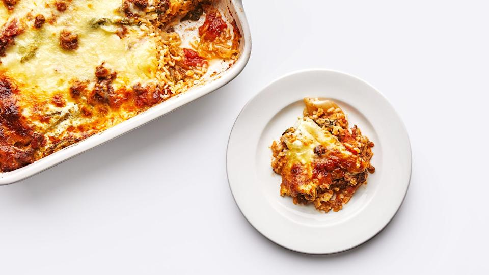 """All the flavors of Eastern European cabbage rolls, but without the rolling. <a href=""""https://www.bonappetit.com/recipe/cabbage-roll-casserole?mbid=synd_yahoo_rss"""" rel=""""nofollow noopener"""" target=""""_blank"""" data-ylk=""""slk:See recipe."""" class=""""link rapid-noclick-resp"""">See recipe.</a>"""