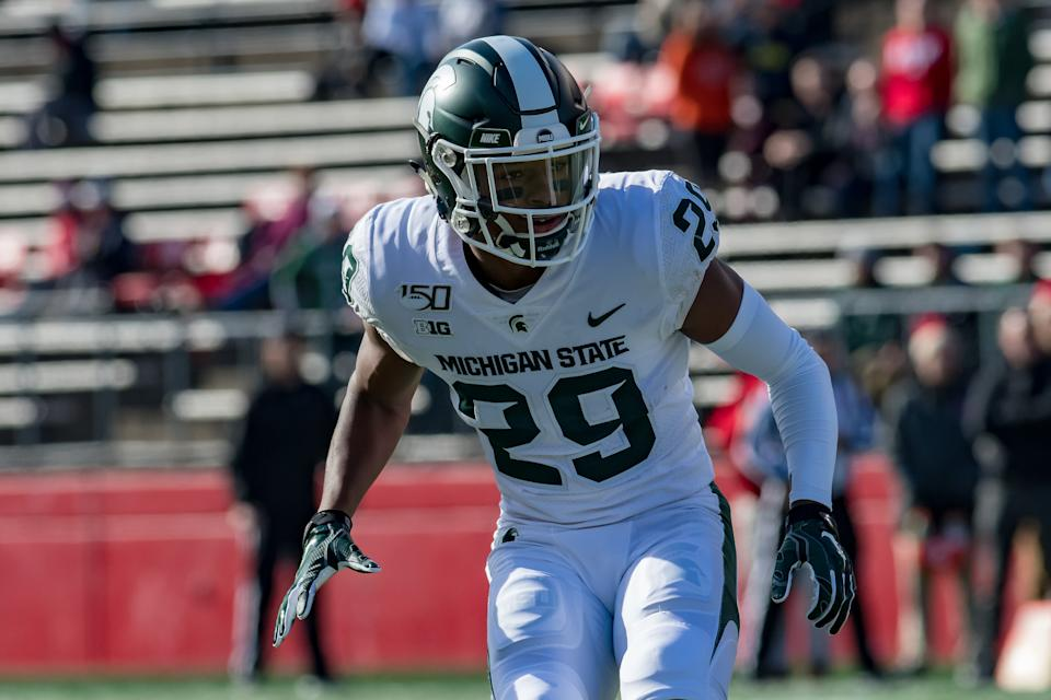 PISCATAWAY, NJ - NOVEMBER 23: Michigan State Spartans cornerback Shakur Brown (29) in action during the college football game between the Michigan State Spartans and Rutgers Scarlet Knights on November 23, 2019 at SHI Stadium in Piscataway, NJ (Photo by John Jones/Icon Sportswire via Getty Images)