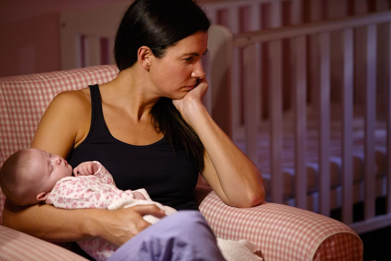 """<p>A new baby is often referred to as a bundle of joy. But what if you don't feel quite so blessed about this whole motherhood thing? If that's the case, you may want to look out for symptoms of <a href=""""https://www.cdc.gov/mmwr/volumes/66/wr/mm6606a1.htm?s_cid=mm6606a1_w"""" target=""""_blank"""">postpartum depression, which affects one in nine women</a>, according to the Centers for Disease Control and Prevention (CDC). </p><p>""""While having the 'blues' after pregnancy is quite common due to <a href=""""https://www.womansday.com/health-fitness/womens-health/a1605/a-month-in-the-life-of-your-hormones-107587/"""" target=""""_blank"""">hormonal fluctuations</a> and changes in neurotransmitters in the brain, this is different than postpartum depression,"""" Daniel Bober, M.D., a board-certified psychiatrist and clinical assistant professor at Yale University School of Medicine in New Haven, Connecticut, tells Woman's Day.  """"Postpartum depression is a severe form of clinical depression."""" </p><p>It's worth noting that there are certain risk factors that may predispose certain women to develop postpartum depression, or PPD. These may include:</p><p>• History of depression or bipolar disorder, or a family history of those conditions</p><p>• Lack of a support system</p><p>• Depression or before during pregnancy</p><p>• History of difficult pregnancies</p><p>• Relationship problems</p><p>• Financial struggles</p><p>• History of substance use disorders</p><p>• Giving birth to a baby with special needs</p><p>• Experiencing an unplanned pregnancy</p><p>• Difficulty <a href=""""https://www.womansday.com/health-fitness/nutrition/a26426109/best-breastfeeding-diet/"""" target=""""_blank"""">breastfeeding</a></p><p>So how do you separate an """"off"""" day from postpartum depression?</p><p>""""To diagnose it, a doctor will often screen symptoms, perform a physical exam and check blood work,"""" Dr. <a href=""""http://www.lisalewismd.com"""" target=""""_blank"""">Lisa Lewis,</a> a pediatrician in Fort Worth, Texas, and the author of <em><a hr"""
