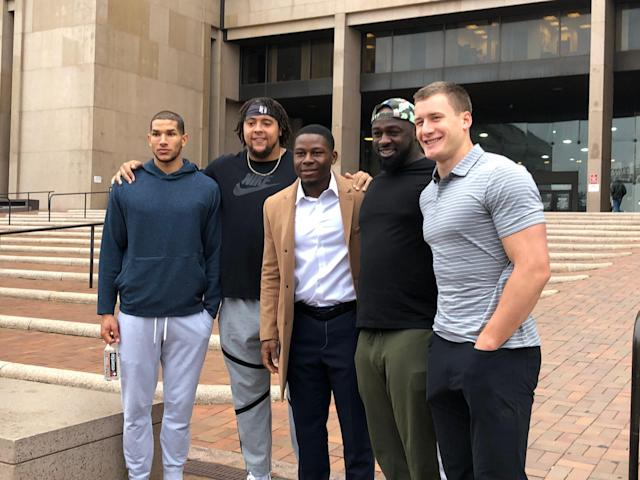 "<a class=""link rapid-noclick-resp"" href=""/nfl/teams/cleveland/"" data-ylk=""slk:Cleveland Browns"">Cleveland Browns</a> who went on a ""Listen & Learn"" tour of a Cleveland courtroom and jail were: (from left to right) wide receiver <a class=""link rapid-noclick-resp"" href=""/nfl/players/31462/"" data-ylk=""slk:Derrick Willies"">Derrick Willies</a>, offensive tackle <a class=""link rapid-noclick-resp"" href=""/nfl/players/28892/"" data-ylk=""slk:Kendall Lamm"">Kendall Lamm</a>, cornerback T.J. Carrie, defensive tackle <a class=""link rapid-noclick-resp"" href=""/nfl/players/30412/"" data-ylk=""slk:Devaroe Lawrence"">Devaroe Lawrence</a> and tight end <a class=""link rapid-noclick-resp"" href=""/nfl/players/29372/"" data-ylk=""slk:Seth DeValve"">Seth DeValve</a>. (Kimberley A. Martin/Yahoo Sports)"