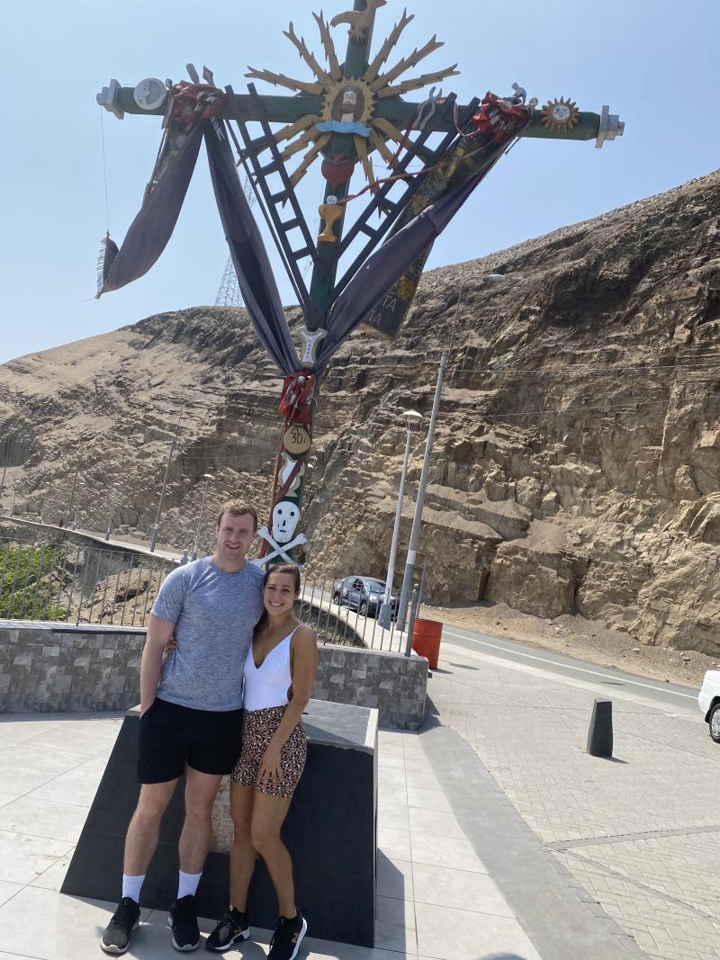 The couple at the start of their vacation in Peru, where they are now stranded after the president ordered borders closed. (Photo courtesy of Tiffany Thomas)
