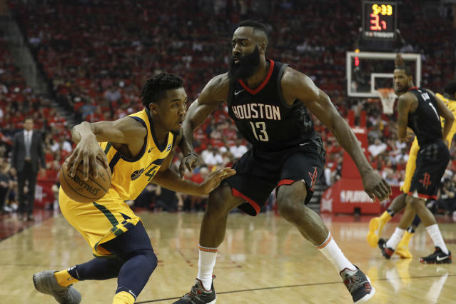 "James Harden put up 41 points in the Rockets' 110-96 win over the <a class=""link rapid-noclick-resp"" href=""/nba/teams/uth"" data-ylk=""slk:Utah Jazz"">Utah Jazz</a> on Sunday afternoon in Houston. (Getty Images)"