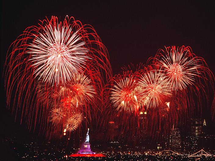 Fourth of July fireworks over the Statue of Liberty in 1986.