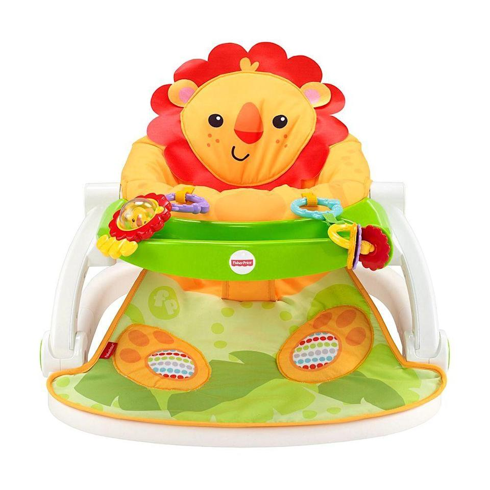 """<p><strong>Fisher-Price</strong></p><p>walmart.com</p><p><strong>$64.39</strong></p><p><a href=""""https://go.redirectingat.com?id=74968X1596630&url=https%3A%2F%2Fwww.walmart.com%2Fip%2F39577492&sref=https%3A%2F%2Fwww.bestproducts.com%2Fparenting%2Fbaby%2Fg113%2Fbaby-floor-seats-sitting-up%2F"""" rel=""""nofollow noopener"""" target=""""_blank"""" data-ylk=""""slk:Shop Now"""" class=""""link rapid-noclick-resp"""">Shop Now</a></p><p>Baby will love lounging in this classic lion floor seat while you fold the laundry or fit in a quick yoga session. The lion-paw footpads activate fun sounds, and the snack tray is removable and easy to clean. <br></p>"""