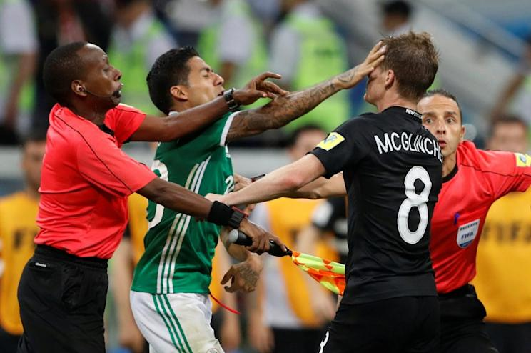 Mexico and New Zealand got into a melee at the end of their Confederations Cup clash on Wednesday, and the Video Assistant Referee review somehow turned out to be a bigger mess. (Reuters)