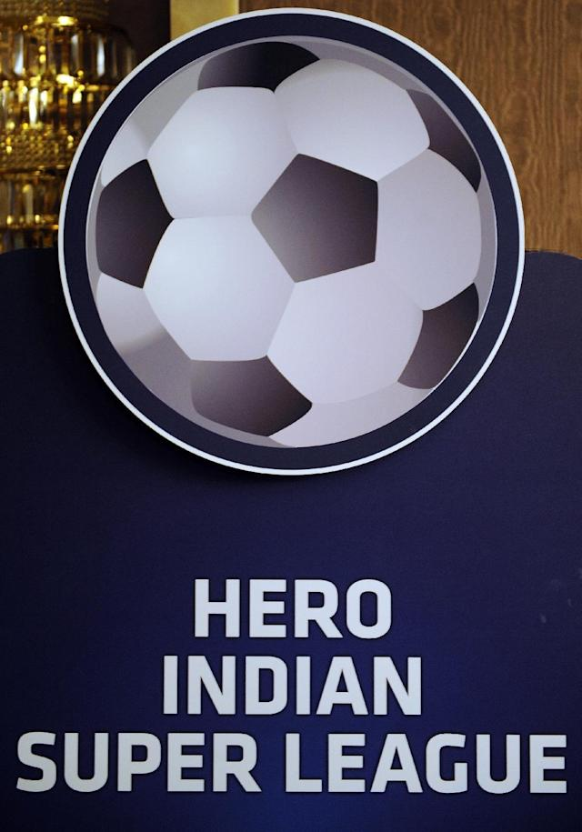 The logo of inaugural eight-team Hero Indian Super League (ISL) football tournament is displayed at a press conference in Mumbai on July 22, 2014 (AFP Photo/Indranil Mukherjee)