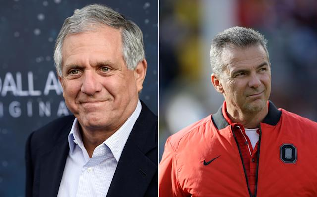 CBS chairman Les Moonves (left), Ohio State University football coach Urban Meyer. (Chris Pizzello/Invision/AP; Carlos Osorio/AP)