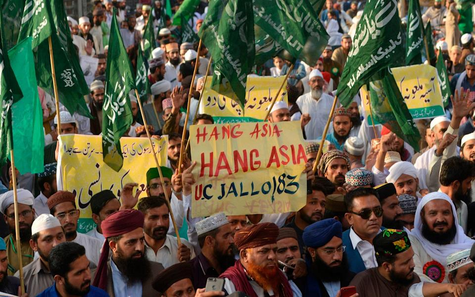 Protests saw many Pakistanis demand Asia Bibi be hanged - AFP