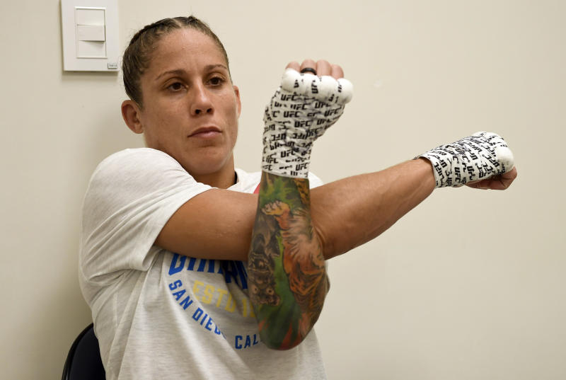 MONTEVIDEO, URUGUAY - AUGUST 10: Liz Carmouche warms up prior to her bout during the UFC Fight Night event at Antel Arena on August 10, 2019 in Montevideo, Uruguay. (Photo by Mike Roach/Zuffa LLC/Zuffa LLC)