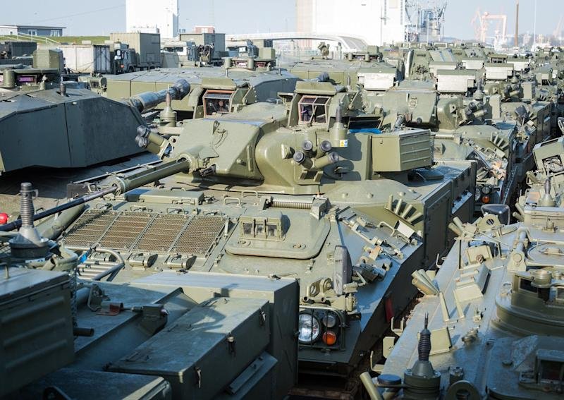 vehicles from 20 Armoured Infantry Brigade arrive in the port of Emden, Germany to be loaded and transported to Estonia - Credit: handout/Ministry of Defence