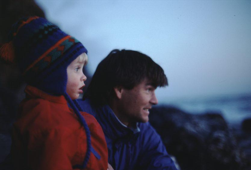 Alex Lowe (R) with his son, Max, while camping in Zion National Park, Utah - Credit: National Geographic/Jennifer Lowe-Anker