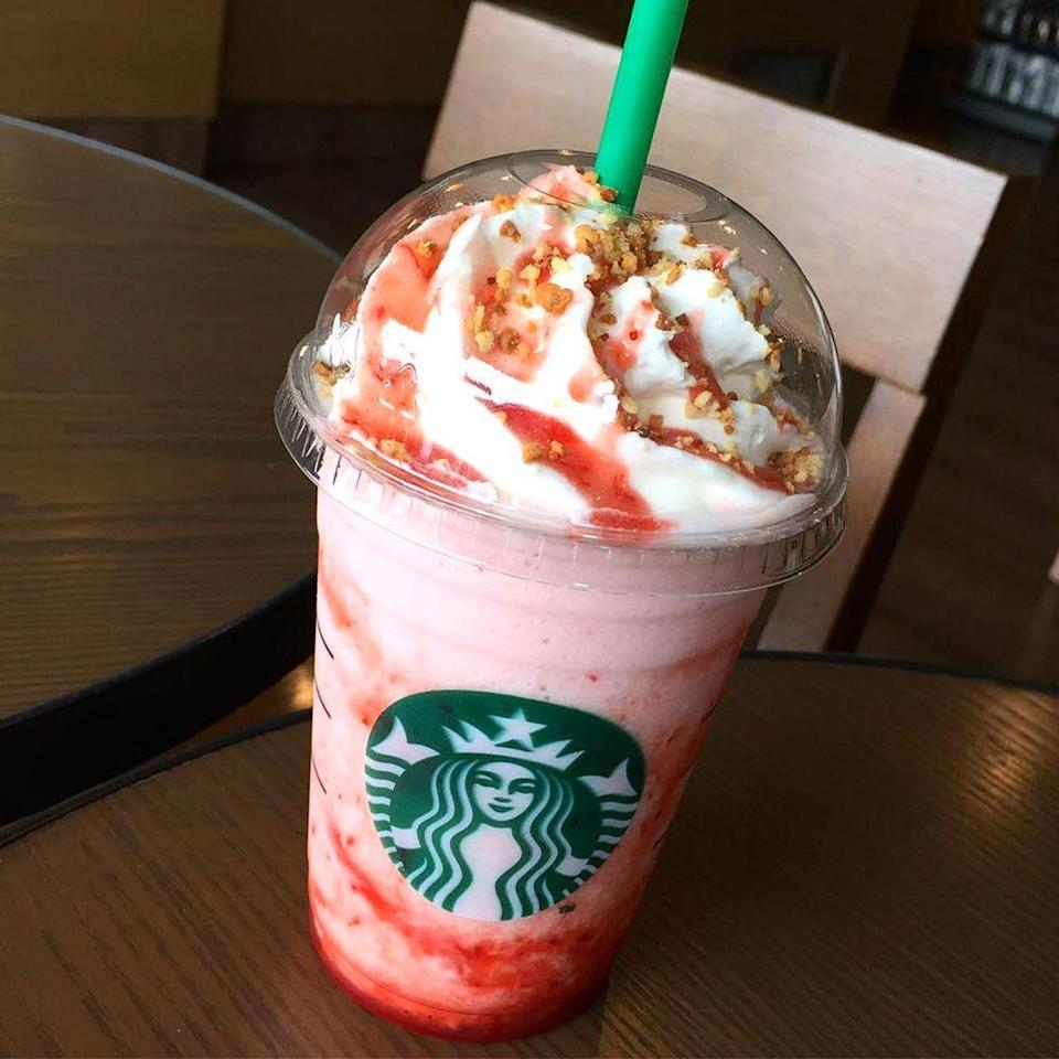 <p>The name of this Frappuccino speaks for itself! It's filled with strawberry puree and cookie crumbles, but the best part is what's on top. Tasty cheesecake-inspired whipped cream, strawberry sauce, and more cookie crumbles make it a treat to remember.</p>