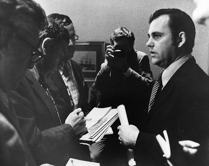 <p>The president's press secretary, Ron Ziegler, talks with newsmen on April 30, 1973, at the White House where he announced the president's descision to accept the resignations of Attorney General Richard G. Kleindienst and White House aides H.R. Haldeman and John D. Ehrlichman in a shakeup stemming from the Watergate affair. He also announced the firing of White House counsel John Dean III. (Photo: AP) </p>