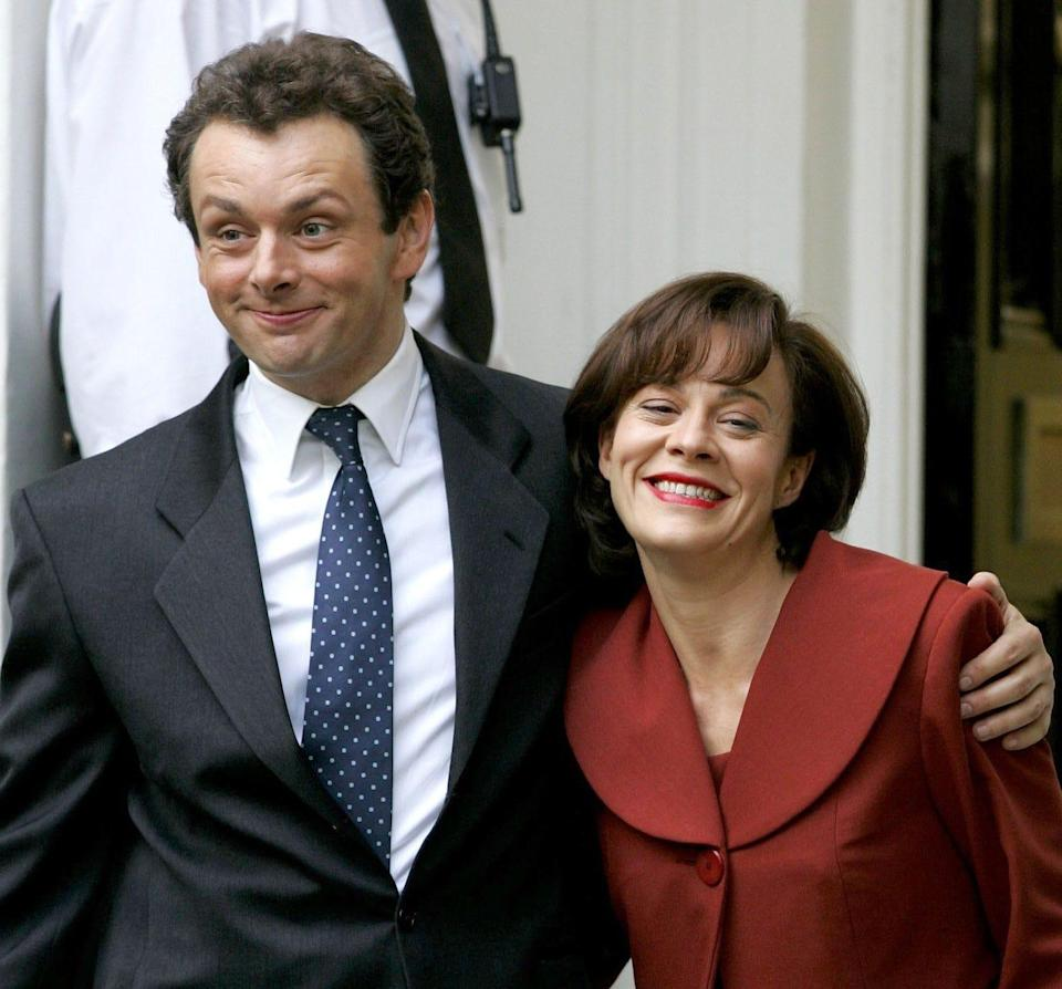 Helen McCrory with Michael Sheen during filming of The Queen in Islington, 2005 - Rex Features