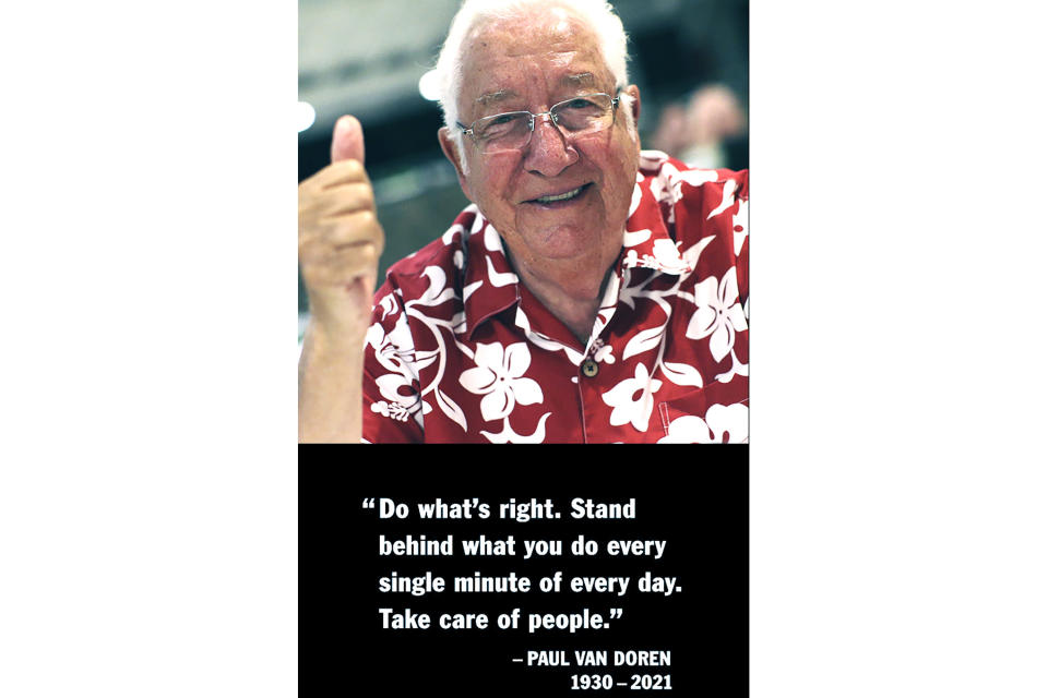 This undated photo provided by Vans shows one of the co-founding brothers Paul Van Doren shown with one of his quotations that was posted online announcing his passing away on Friday, May 7, 2021. Doren, who co-founded the Vans company that created sneaker brand that shod the feet of skateboarders around the world and grew into a global powerhouse offering sports apparel and sponsoring sports teams and rock festivals, has died. (Vans via AP)