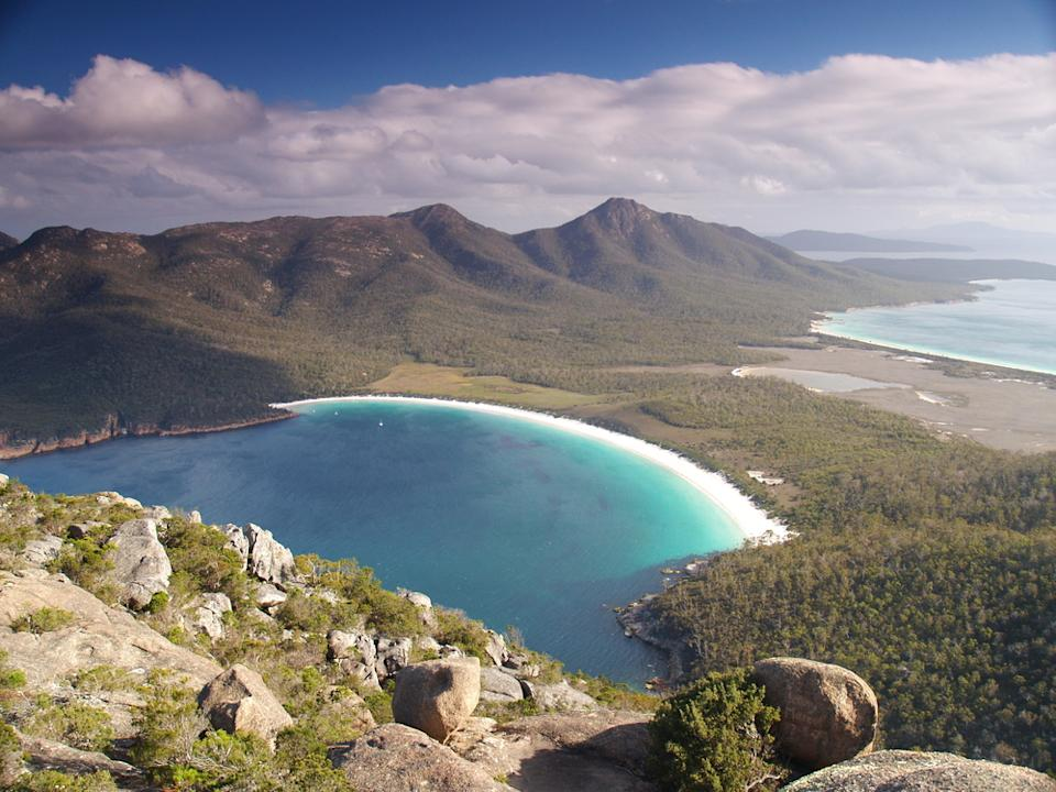 aerial photo of Freycinet National Park, north of Hobart, tasmania