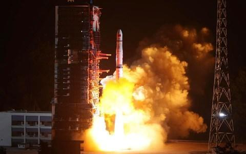 "<span>A Long March-4C rocket lifts off from the southwestern Xichang launch centre carrying the Queqiao (""Magpie Bridge"") satellite in Xichang, China's southwestern Sichuan province on May 21, 2018</span> <span>Credit: AFP </span>"