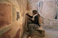Restorative work underway on the frescos commissioned by Herod