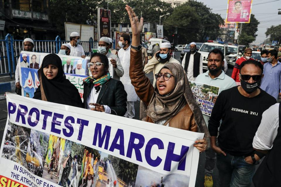 """<span class=""""caption"""">A protest march in Kolkata in support of farmers. Women have been central to the recent protests.</span> <span class=""""attribution""""><span class=""""source"""">(AP Photo/Bikas Das)</span></span>"""