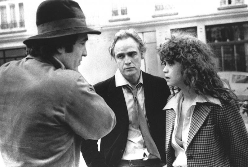 Last Tango in Paris: Director Bernardo Bertolucci with Marlon Brando and Maria Schneider (AP)