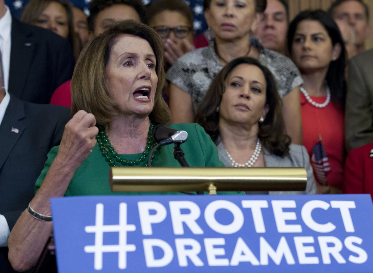 House Minority Leader Nancy Pelosi, accompanied by congressional Democrats, calls for Republicans to stand up to President Trump's decision to terminate the Deferred Action for Childhood Arrivals (DACA) initiative by bringing DREAM Act legislation to a vote in the House and Senate. (AP/Jose Luis Magana)