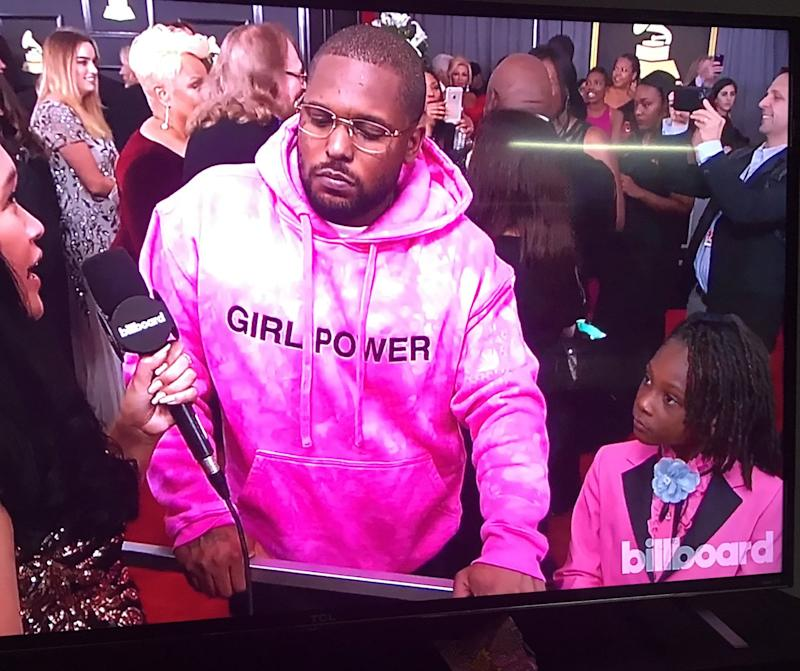 3331ce47 Rapper Schoolboy Q Hits Grammys Red Carpet in 'Girl Power' Sweatshirt Along  With Daughter In Matching Pink Gucci Suit