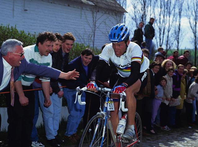 Road race world champion Lance Armstrong (Motorola) at the 1994 Tour of Flanders