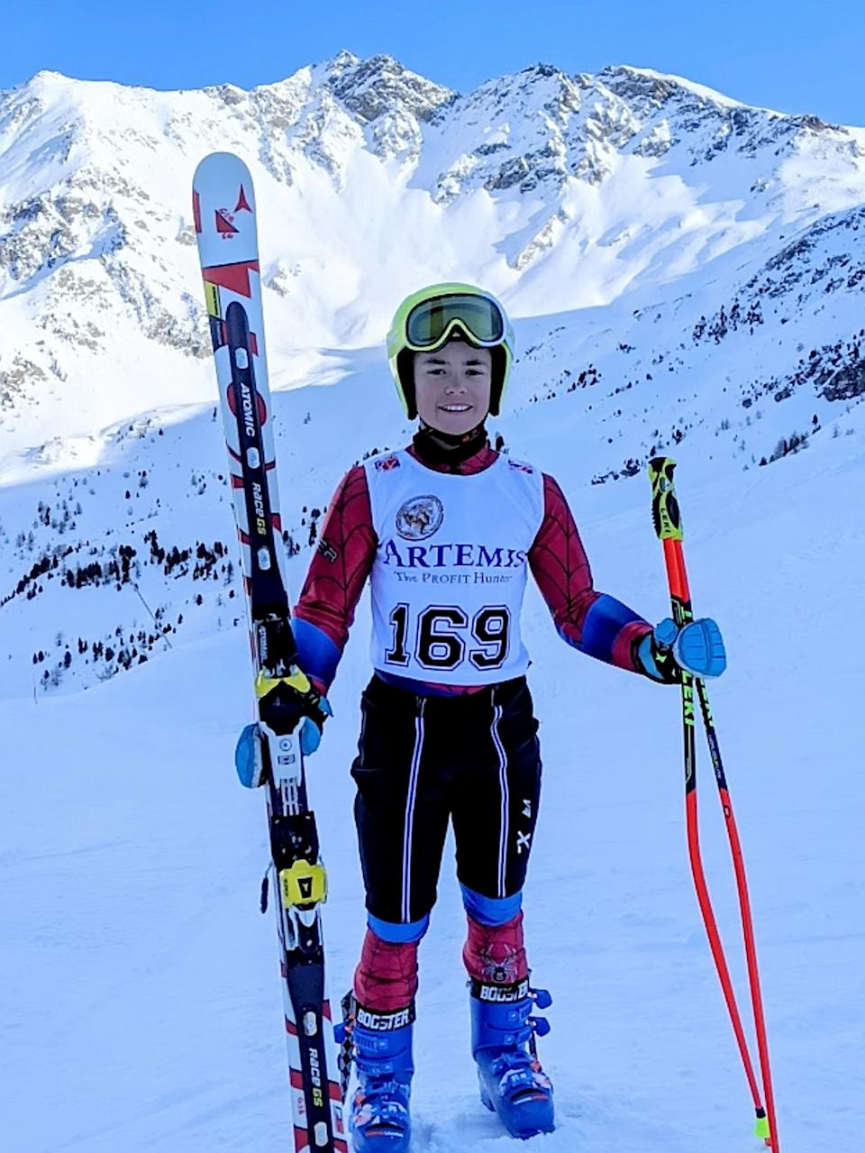 George Brown is dreaming of becoming the best ski jumper. (SWNS)
