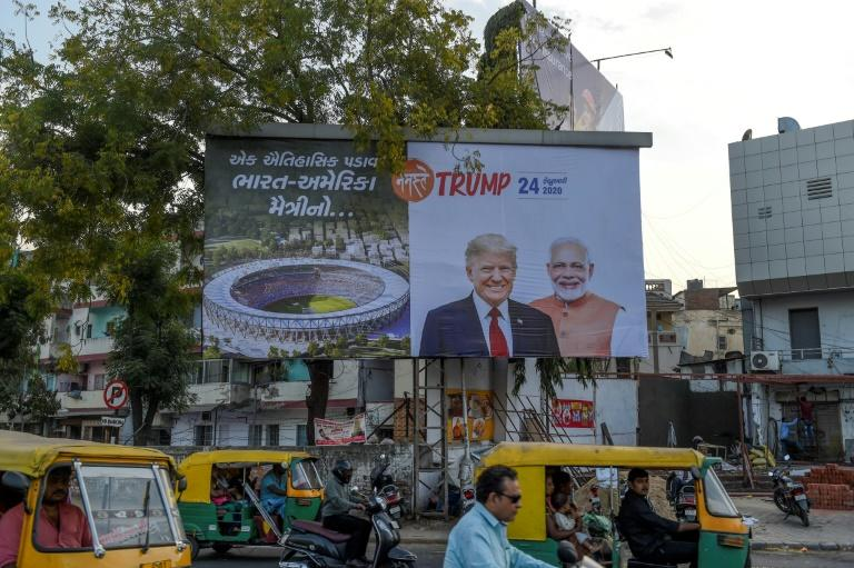 India is gearing up for a visit by US President Donald Trump starting Monday (AFP Photo/SAM PANTHAKY)