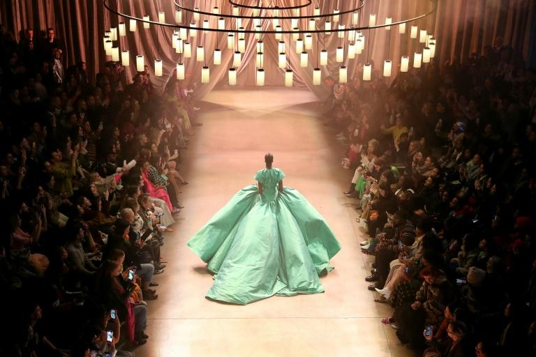 An aerial view of the Christopher John Rogers fashion show during New York Fashion Week on February 08, 2020 in New York City