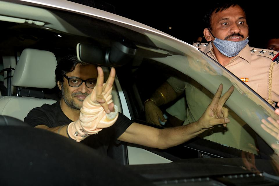 NAVI MUMBAI, INDIA - NOVEMBER 11: Republic TV Editor-in-Chief Arnab Goswami gestures to his supporters after being released from Taloja Central Prison in 2018 Suicide abetment case at Kharghar on November 11, 2020 in Navi Mumbai, India. The Supreme Court granted bail to Arnab Goswami, noting that if this is what our states will do to nail persons, we have to put across this message to all High Courts to preserve the liberty of citizens. (Photo by Bachchan Kumar/Hindustan Times via Getty Images)