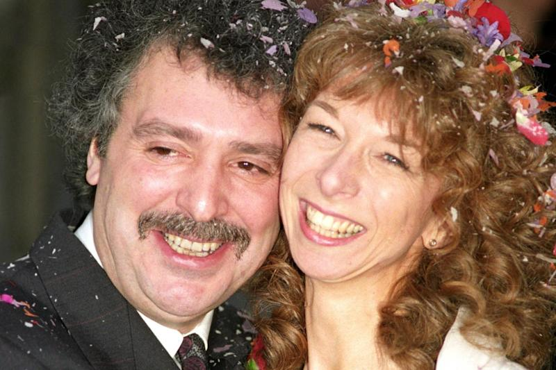 Actor Michael Angelis on his wedding day to his then wife actress Helen Worth: PA