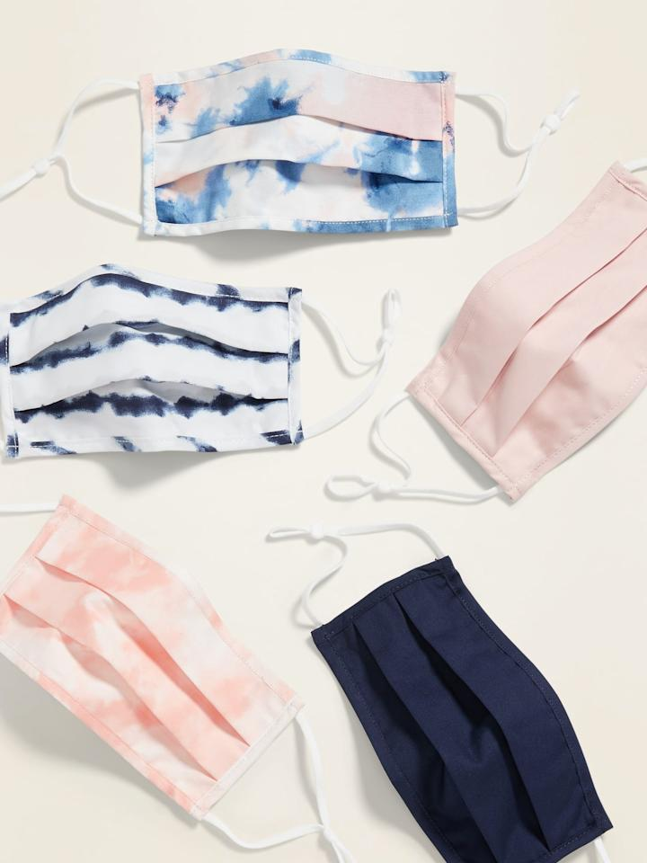 """<p>This pack of <product href=""""https://oldnavy.gap.com/browse/product.do?pid=658695152&amp;pcid=999&amp;vid=1&amp;searchText=tie+dye#pdp-page-content"""" target=""""_blank"""" class=""""ga-track"""" data-ga-category=""""Related"""" data-ga-label=""""https://oldnavy.gap.com/browse/product.do?pid=658695152&amp;pcid=999&amp;vid=1&amp;searchText=tie+dye#pdp-page-content"""" data-ga-action=""""In-Line Links"""">Variety 5-Pack of Triple-Layer Cloth Face Masks For Adults </product> ($25) now comes with ear adjusters.</p>"""