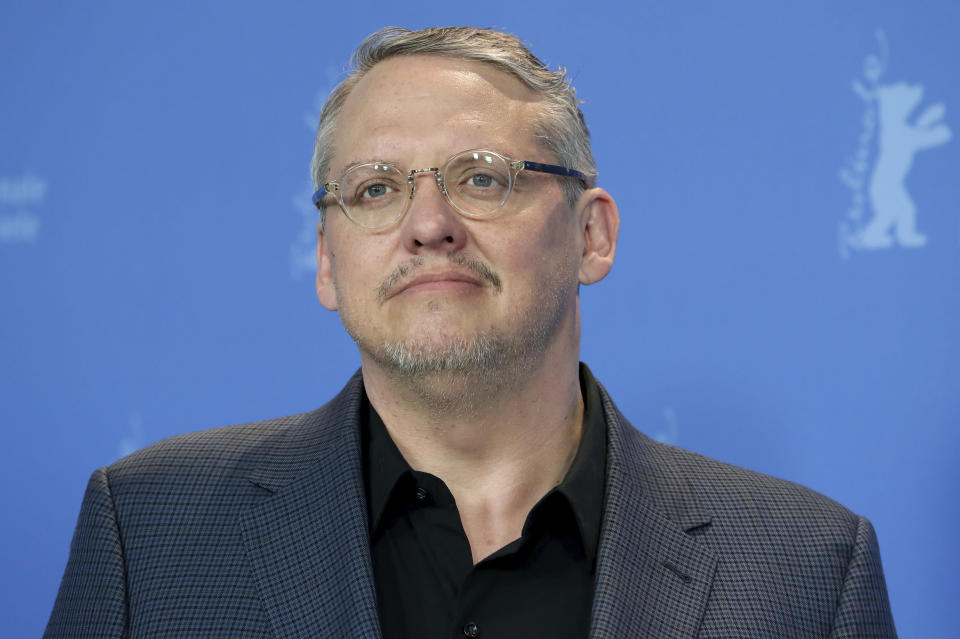 """FILE - Director Adam McKay appears during a photo call for the film """"Vice"""" at the 2019 Berlinale Film Festival in Berlin, Germany on Feb. 11, 2019. McCay's latest film is """"537 Votes,"""" a documentary about the 2000 Presidential election. (AP Photo/Michael Sohn, File)"""