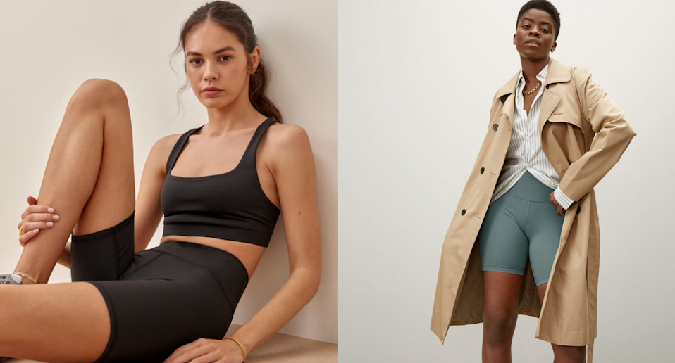 Find the perfect pair of bike shorts for every activity. Images via Reformation, Everlane.