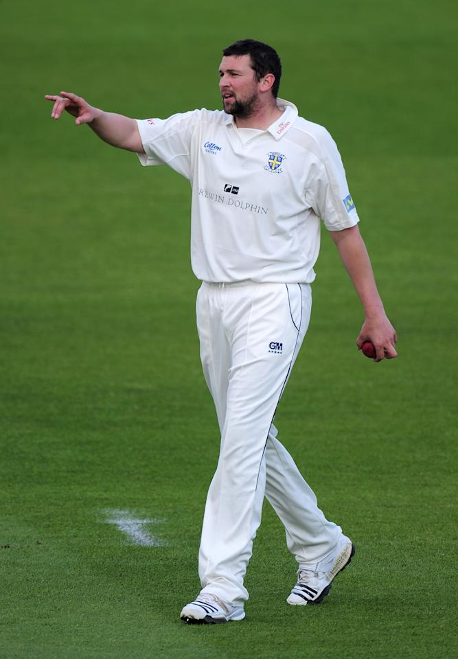NOTTINGHAM, ENGLAND - MAY 11:  Steve Harmison of Durham during the LV County Championship match between Nottinghamshire and Durham at Trent Bridge on May 11, 2010 in Nottingham, England.  (Photo by Shaun Botterill/Getty Images)