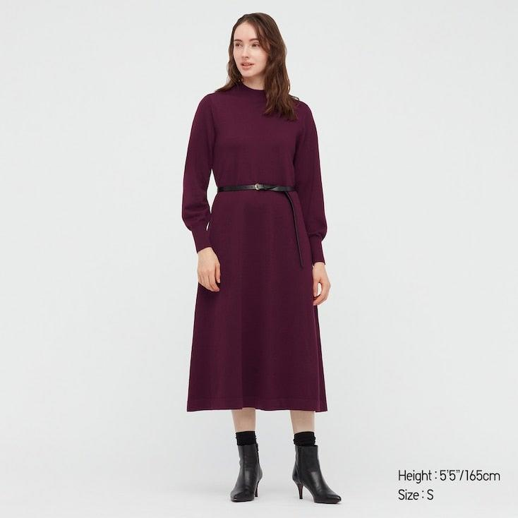 """<em>Shop </em><a href=""""https://www.uniqlo.com/us/en/women/tops/sweaters-and-cardigans/extra-fine-merino-wool"""" rel=""""nofollow noopener"""" target=""""_blank"""" data-ylk=""""slk:Uniqlo Extra Fine Merino Wool"""" class=""""link rapid-noclick-resp""""><em>Uniqlo Extra Fine Merino Wool</em></a><br><br><strong>Uniqlo</strong> WOMEN MERINO BLEND A-LINE LONG-SLEEVE DRESS, $, available at <a href=""""https://go.skimresources.com/?id=30283X879131&url=https%3A%2F%2Fwww.uniqlo.com%2Fus%2Fen%2Fwomen-merino-blend-a-line-long-sleeve-dress-440660.html"""" rel=""""nofollow noopener"""" target=""""_blank"""" data-ylk=""""slk:Uniqlo"""" class=""""link rapid-noclick-resp"""">Uniqlo</a>"""