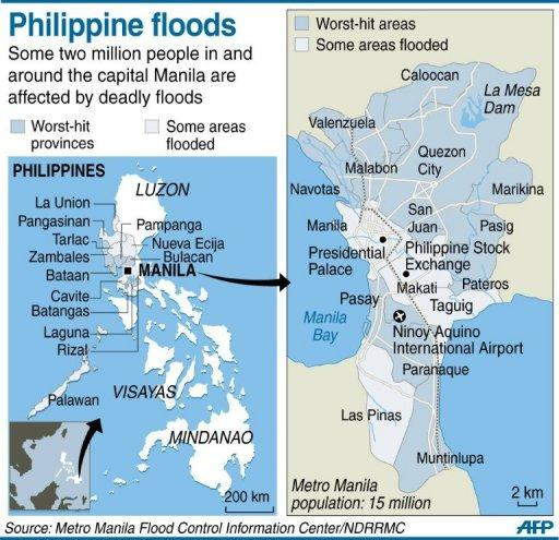 Graphic map locating areas in and around the Philippine capital Manila that have been hit by worst flooding