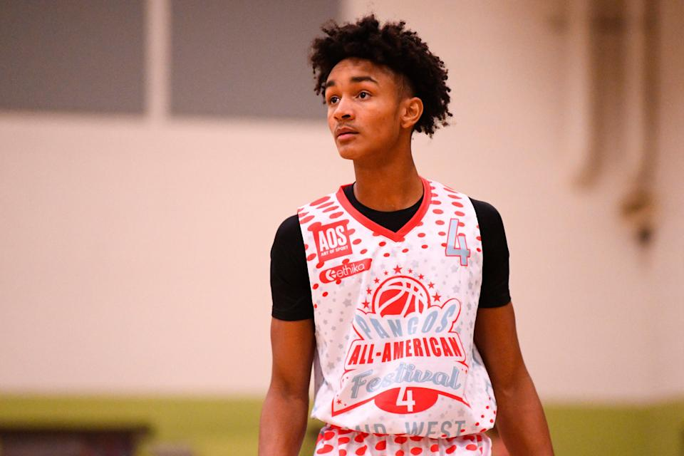 Kobe Bufkin, from Grand Rapids Christian High School, looks on during the Pangos All-American Festival on November 7, 2020 at AZ Compass Prep in Chandler, Arizona.