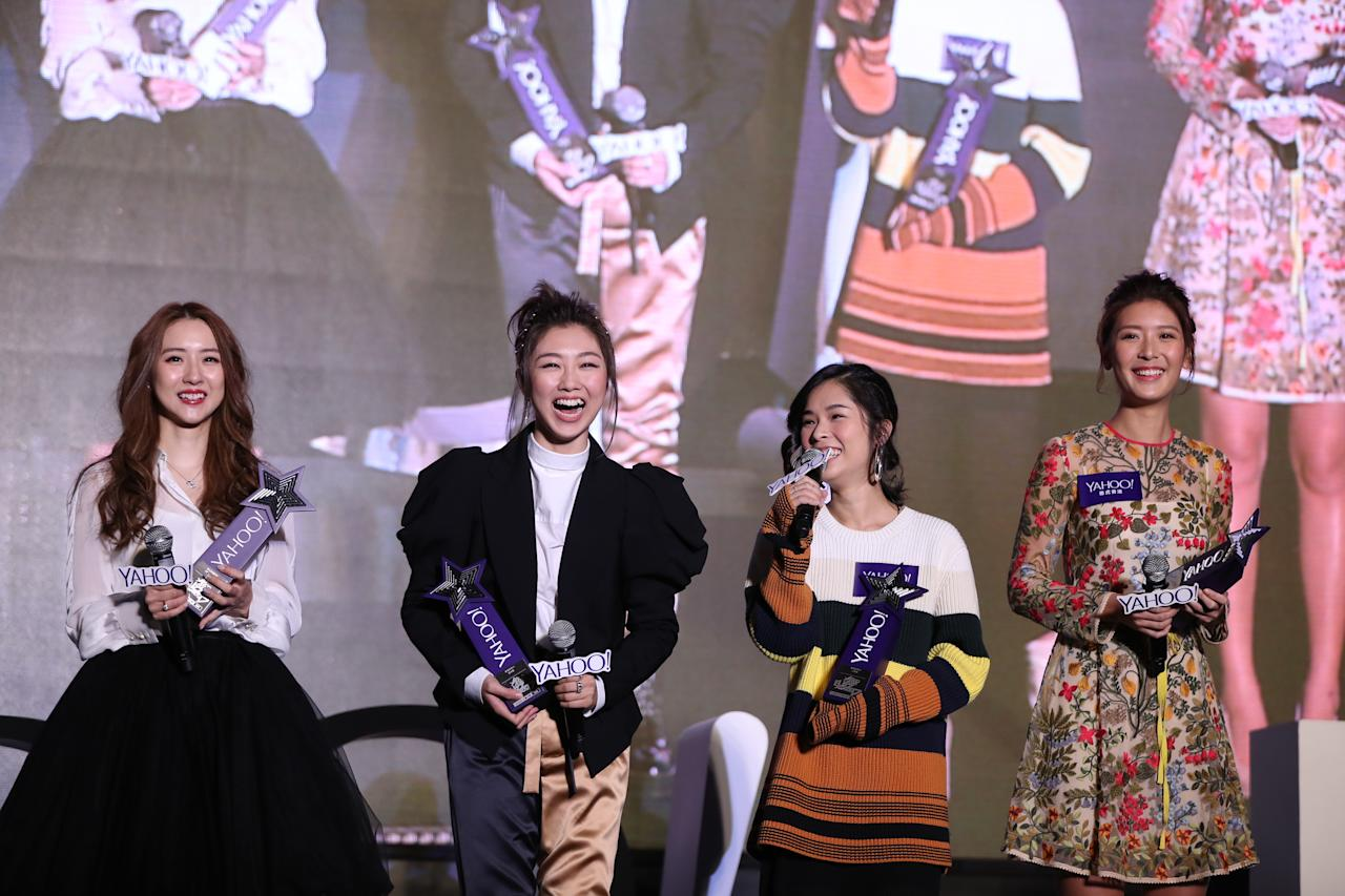 <p>Hana, Cherry Ngan, Sophy Wong and Jennifer Yu with awards at the Yahoo Asia Buzz Awards 2017 in Hong Kong on Wednesday (6 December).</p>